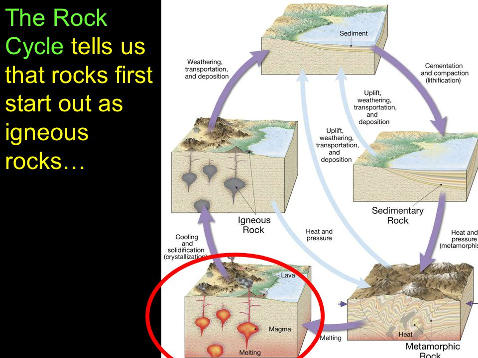 8 The Rock Cycle tells us that rocks first start out as igneous rocks…