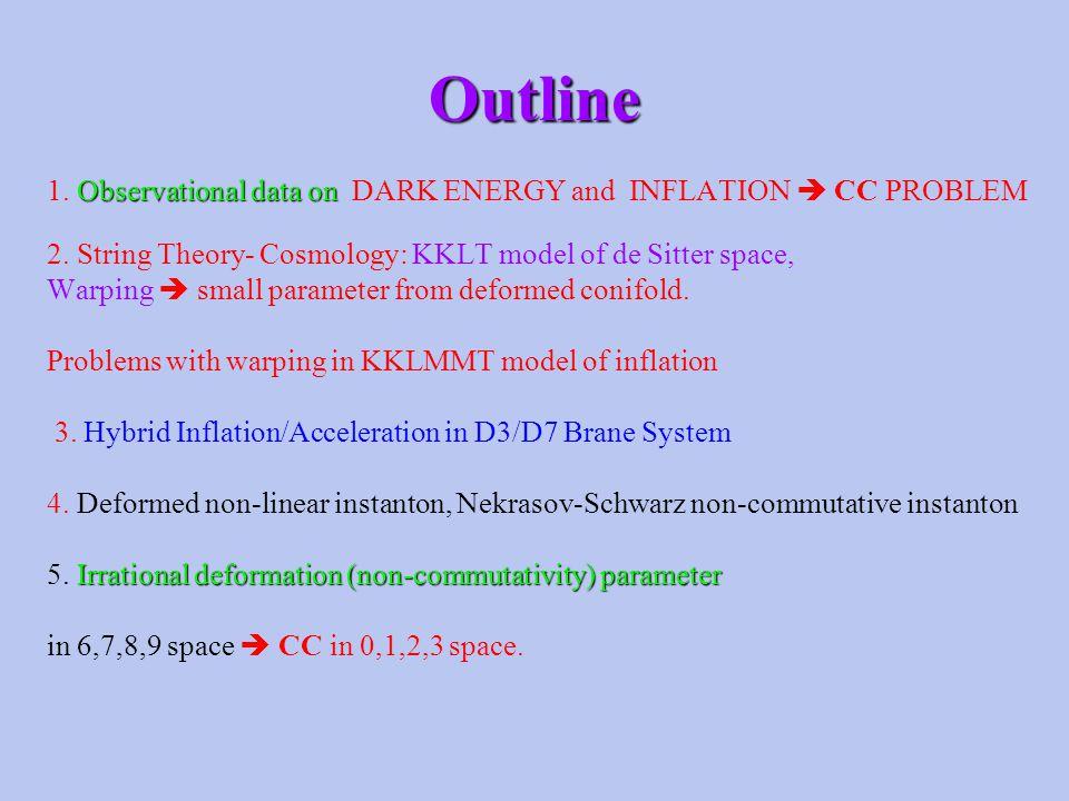 Outline Observational data on 1.Observational data on DARK ENERGY and INFLATION  CC PROBLEM 2.