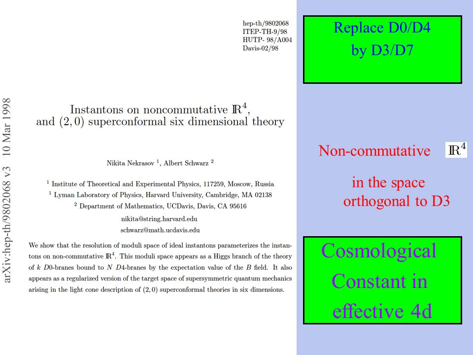 Replace D0/D4 by D3/D7 Non-commutative in the space orthogonal to D3 Cosmological Constant in effective 4d