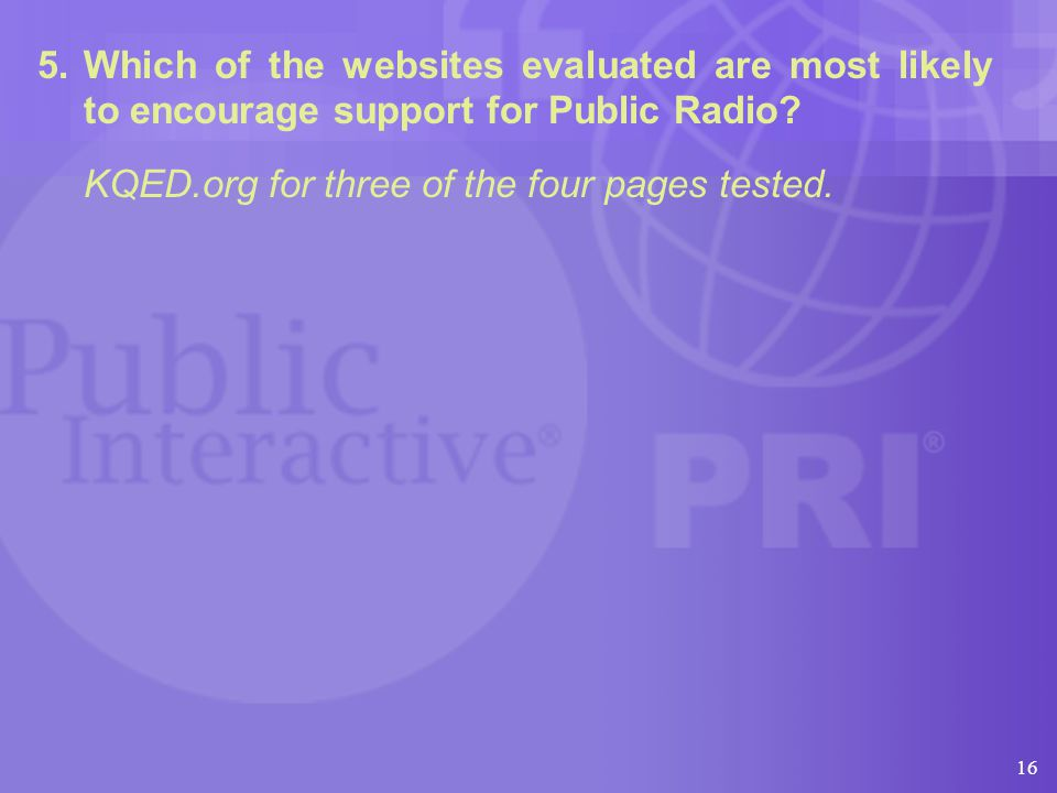 16 5.Which of the websites evaluated are most likely to encourage support for Public Radio.