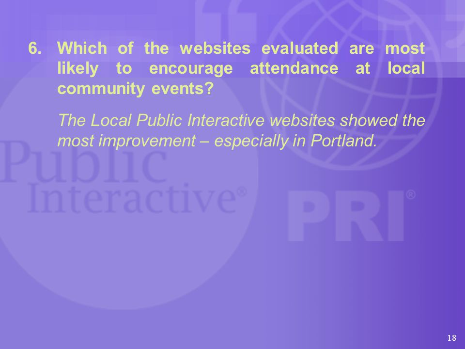 18 6.Which of the websites evaluated are most likely to encourage attendance at local community events.