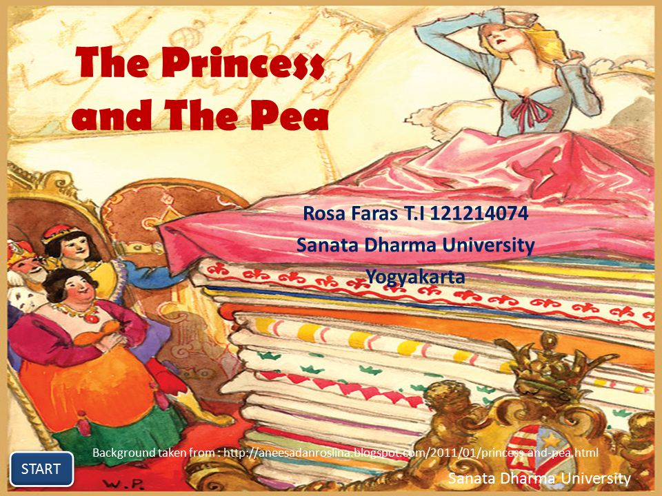The Princess and The Pea Rosa Faras T.I Sanata Dharma University Yogyakarta START Sanata Dharma University Background taken from :