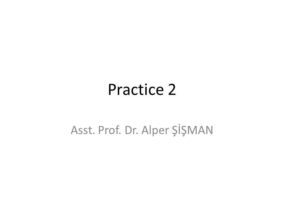 Practice 2 Asst. Prof. Dr. Alper ŞİŞMAN