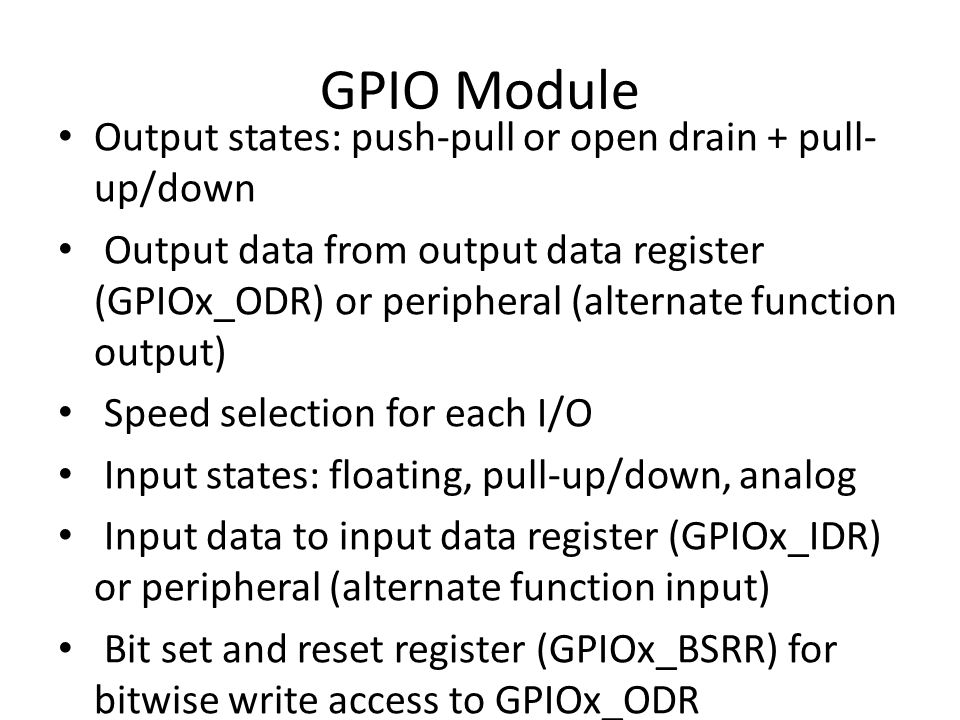 Read Button Activate GPIOA clock Configure A0 as input (it is default), bus speed and no pull up/down void SystemInit() { (*((int*)0xE000ED88))|=0x0F00000; // Floating Point donanimini aktiflestir.