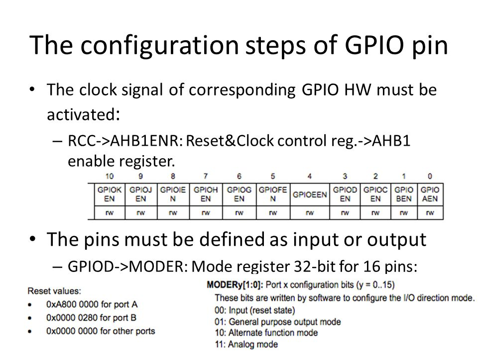 The configuration steps of GPIO pin The clock signal of corresponding GPIO HW must be activated : – RCC->AHB1ENR: Reset&Clock control reg.->AHB1 enabl