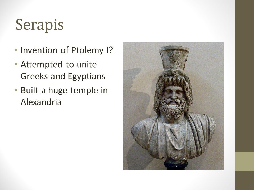 Alexandria Very pluralistic (many truths) Many Christians there worshipped Serapis Syncretism combination of different (often contradictory) types of thought Ptolemy had Hebrew scriptures translated to Greek Allegorical interpretation Hidden meanings Example – Logos=God's creative principle, not Son of God