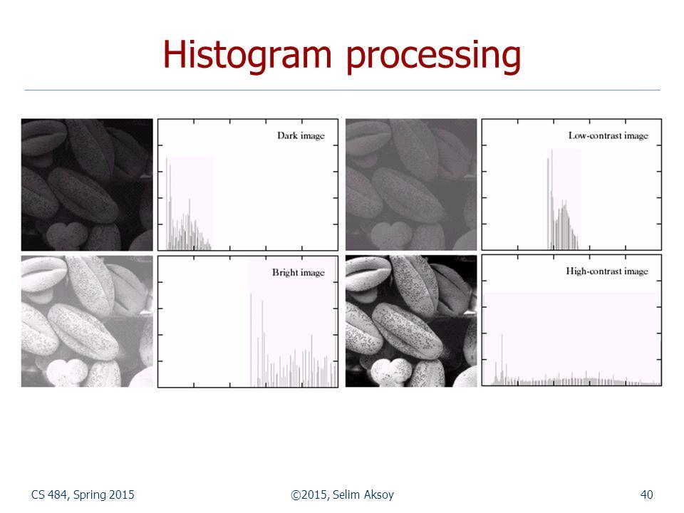 CS 484, Spring 2015©2015, Selim Aksoy40 Histogram processing