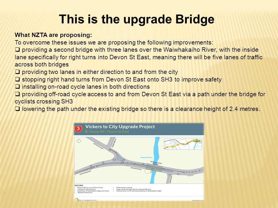 This is the upgrade Bridge What NZTA are proposing: To overcome these issues we are proposing the following improvements:  providing a second bridge with three lanes over the Waiwhakaiho River, with the inside lane specifically for right turns into Devon St East, meaning there will be five lanes of traffic across both bridges  providing two lanes in either direction to and from the city  stopping right hand turns from Devon St East onto SH3 to improve safety  installing on-road cycle lanes in both directions  providing off-road cycle access to and from Devon St East via a path under the bridge for cyclists crossing SH3  lowering the path under the existing bridge so there is a clearance height of 2.4 metres.