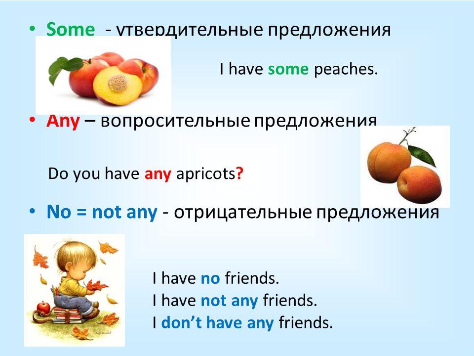 Some - утвердительные предложения Any – вопросительные предложения No = not any - отрицательные предложения I have some peaches.