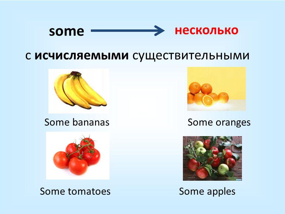 с исчисляемыми существительными несколько some Some bananas Some tomatoes Some oranges Some apples