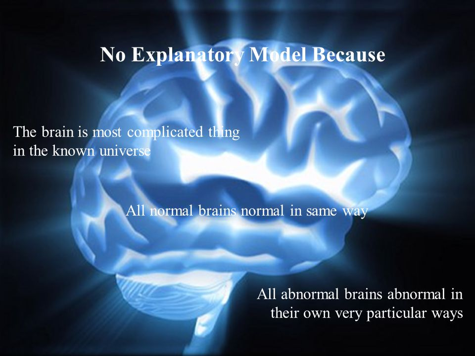 No Explanatory Model Because The brain is most complicated thing in the known universe All normal brains normal in same way All abnormal brains abnorm