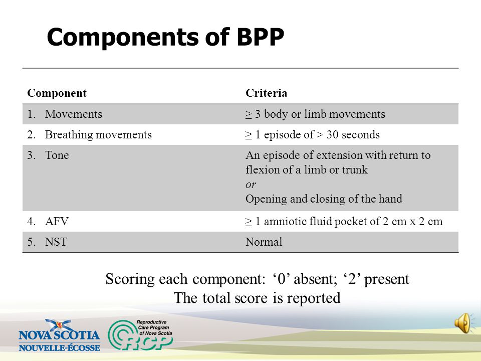 Biophysical Profile (BPP) Ultrasound assessment of 3 fetal 'behaviors' i.e. movements, breathing movements, and tone Ultrasound assessment of amniotic