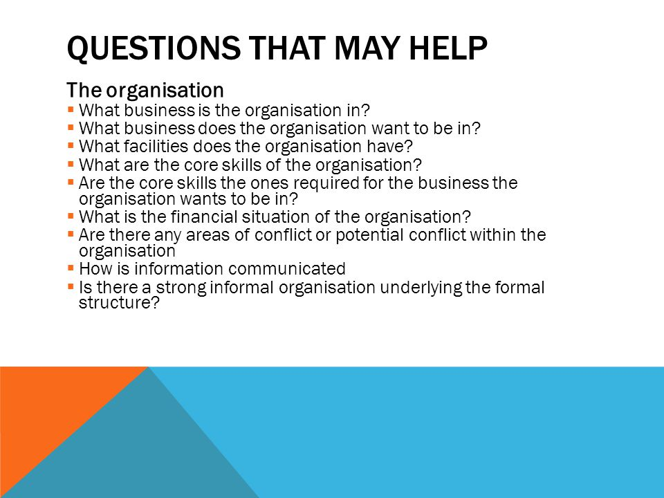 QUESTIONS THAT MAY HELP The organisation  What business is the organisation in?  What business does the organisation want to be in?  What facilitie