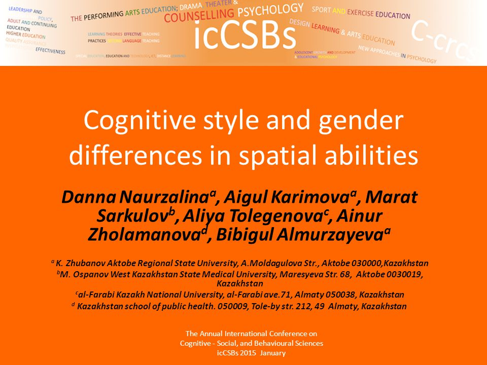 Cognitive style and gender differences in spatial abilities Danna Naurzalina a, Aigul Karimova a, Marat Sarkulov b, Aliya Tolegenova c, Ainur Zholamanova d, Bibigul Almurzayeva a a K.