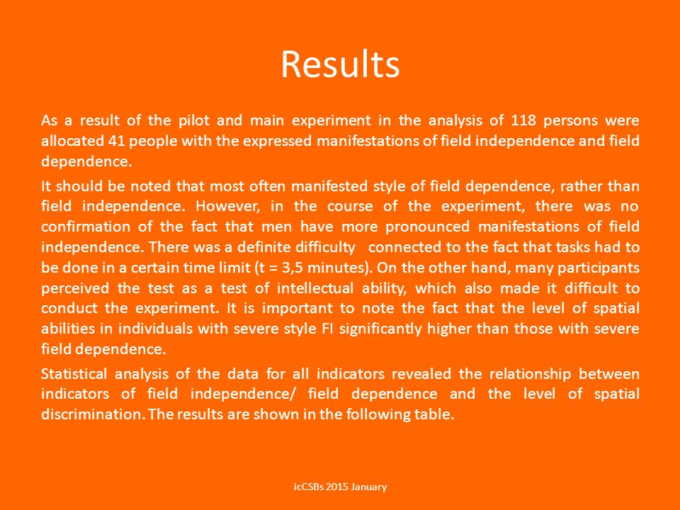 Results As a result of the pilot and main experiment in the analysis of 118 persons were allocated 41 people with the expressed manifestations of field independence and field dependence.