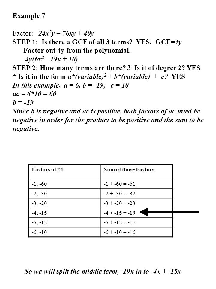 Example 7 Factor: 24x 2 y – 76xy + 40y STEP 1: Is there a GCF of all 3 terms? YES. GCF=4y Factor out 4y from the polynomial. 4y(6x 2 - 19x + 10) STEP