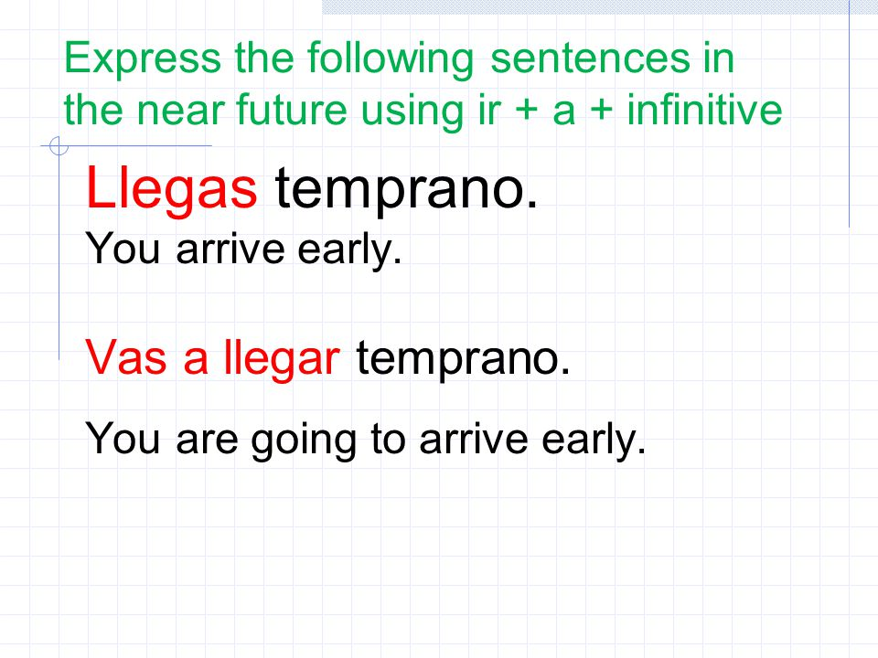 Express the following sentences in the near future using ir + a + infinitive Llegas temprano.