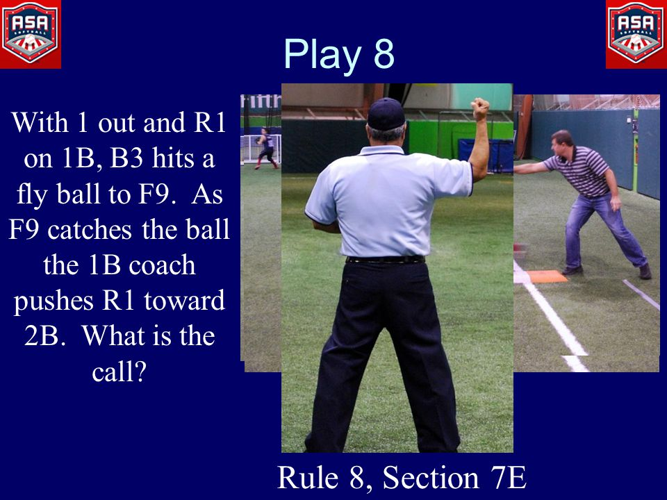 Play 8 With 1 out and R1 on 1B, B3 hits a fly ball to F9.