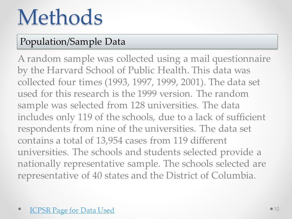 Methods A random sample was collected using a mail questionnaire by the Harvard School of Public Health. This data was collected four times (1993, 199