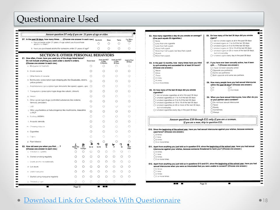 18 Questionnaire Used Download Link for Codebook With Questionnaire