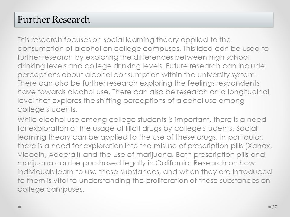 This research focuses on social learning theory applied to the consumption of alcohol on college campuses. This idea can be used to further research b