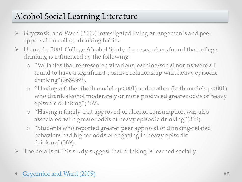 Grycznski and Ward (2009) investigated living arrangements and peer approval on college drinking habits.  Using the 2001 College Alcohol Study, the