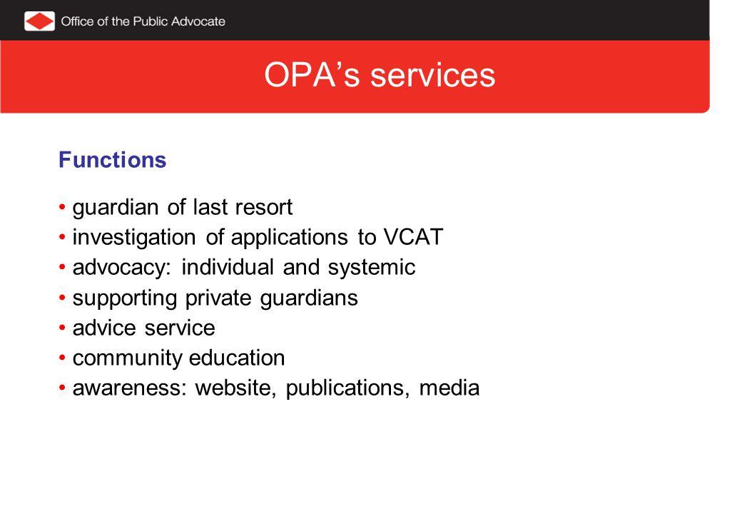 OPA's services Advice Service:13,398 calls Community Education: 184 presentations 2011-12