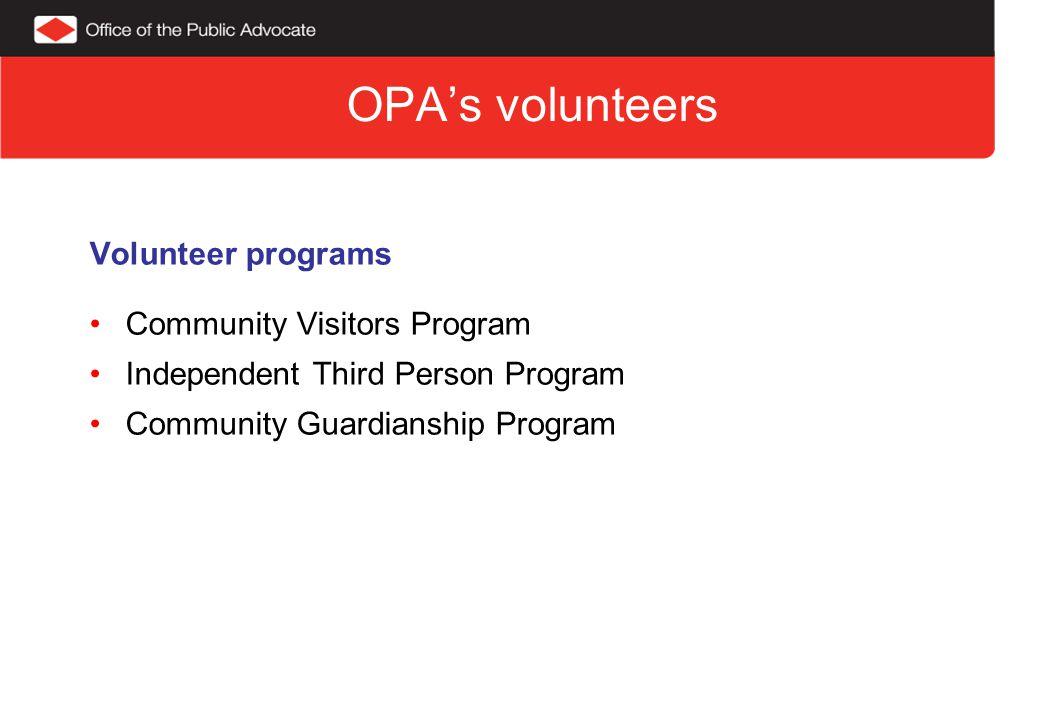 Breakdown of volunteers 2010 - 11