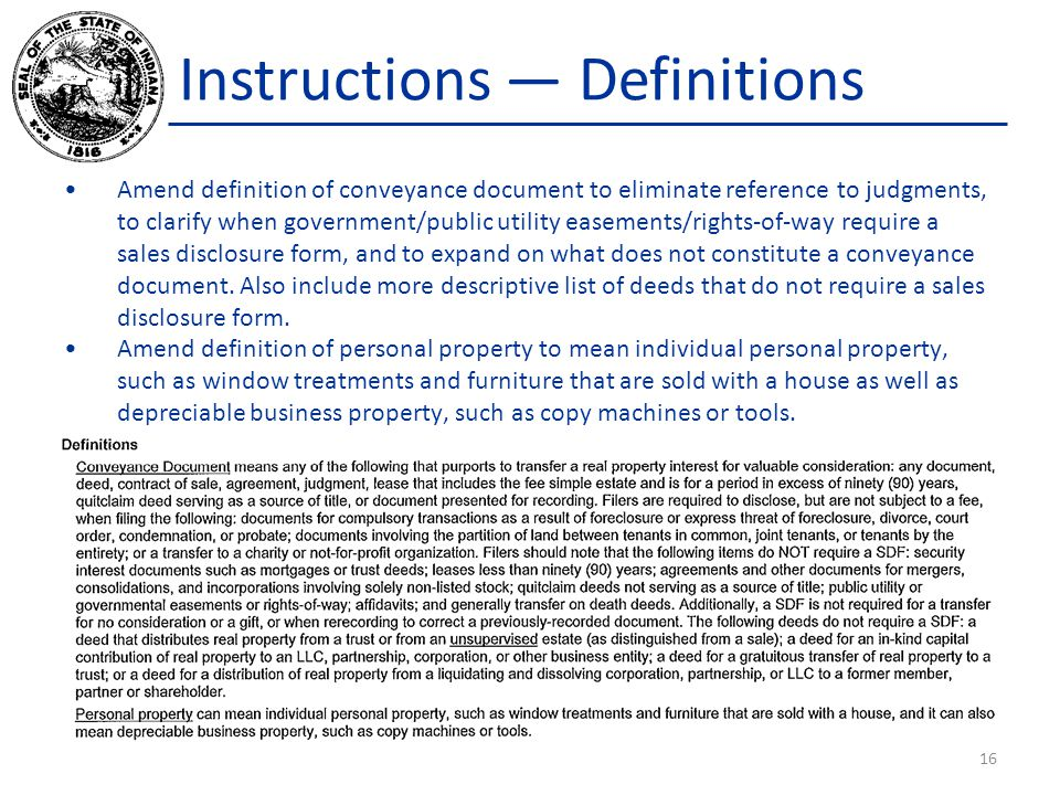 Instructions — Definitions Amend definition of conveyance document to eliminate reference to judgments, to clarify when government/public utility ease