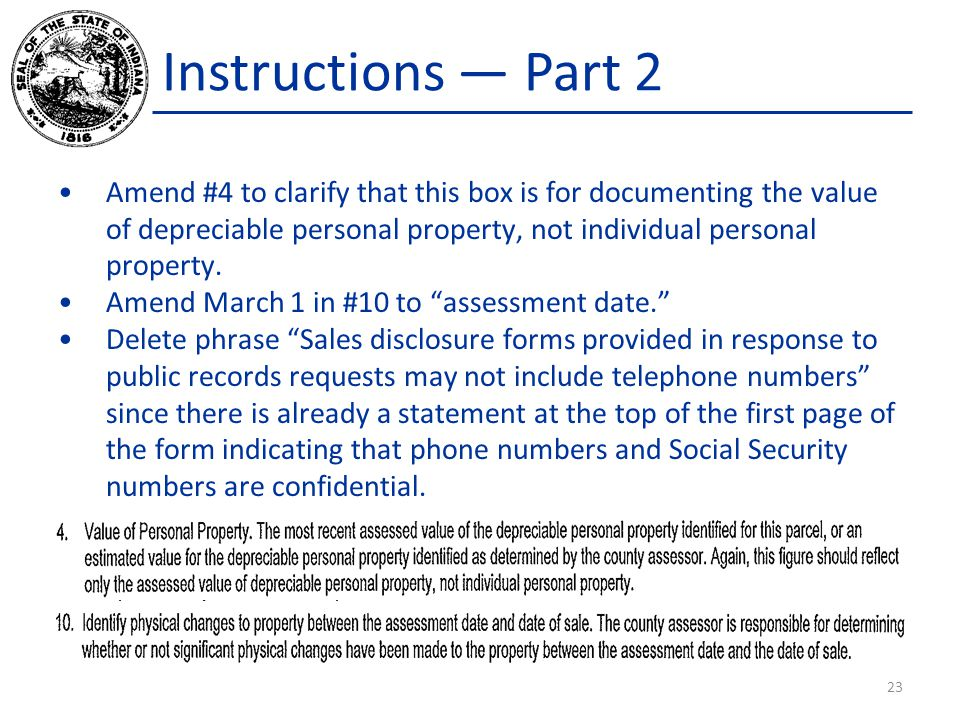 Instructions — Part 2 Amend #4 to clarify that this box is for documenting the value of depreciable personal property, not individual personal propert