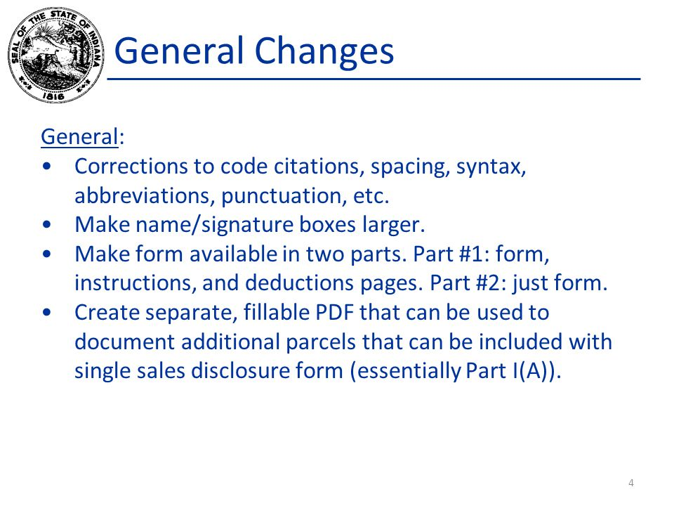 General Changes General: Corrections to code citations, spacing, syntax, abbreviations, punctuation, etc.