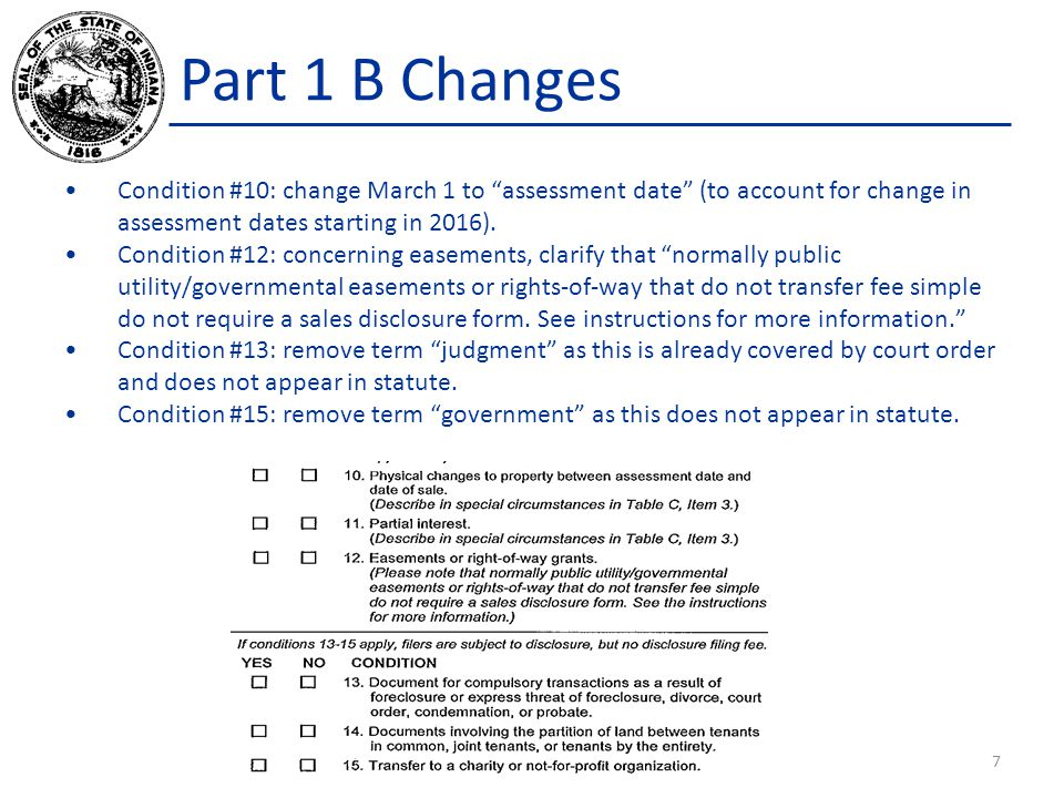 Part 1 B Changes Condition #10: change March 1 to assessment date (to account for change in assessment dates starting in 2016).