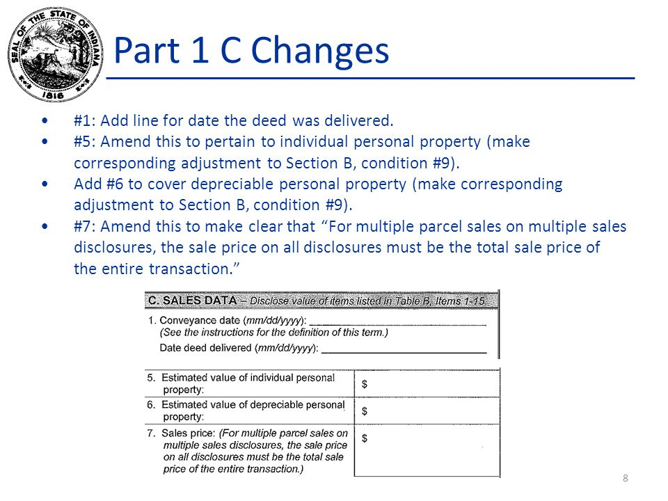 Part 1 C Changes #1: Add line for date the deed was delivered.