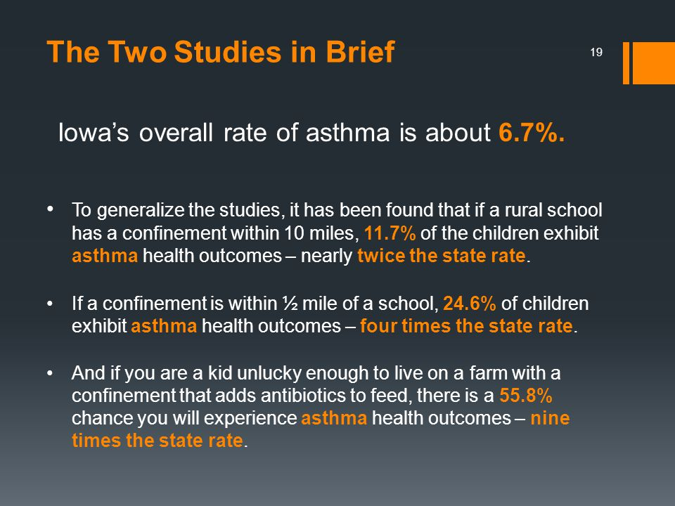19 Iowa's overall rate of asthma is about 6.7%. The Two Studies in Brief To generalize the studies, it has been found that if a rural school has a con