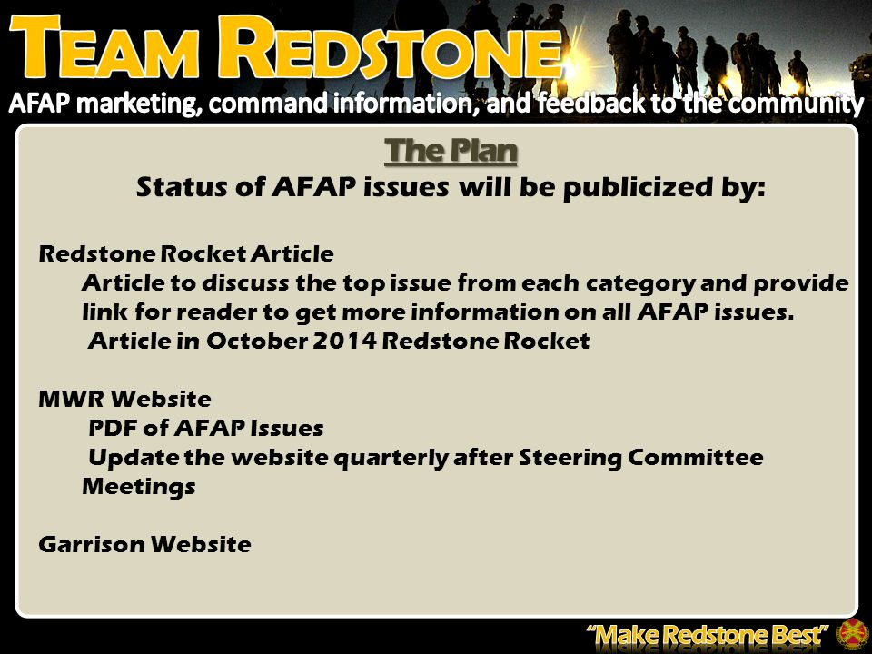 The Plan Status of AFAP issues will be publicized by: Redstone Rocket Article Article to discuss the top issue from each category and provide link for reader to get more information on all AFAP issues.