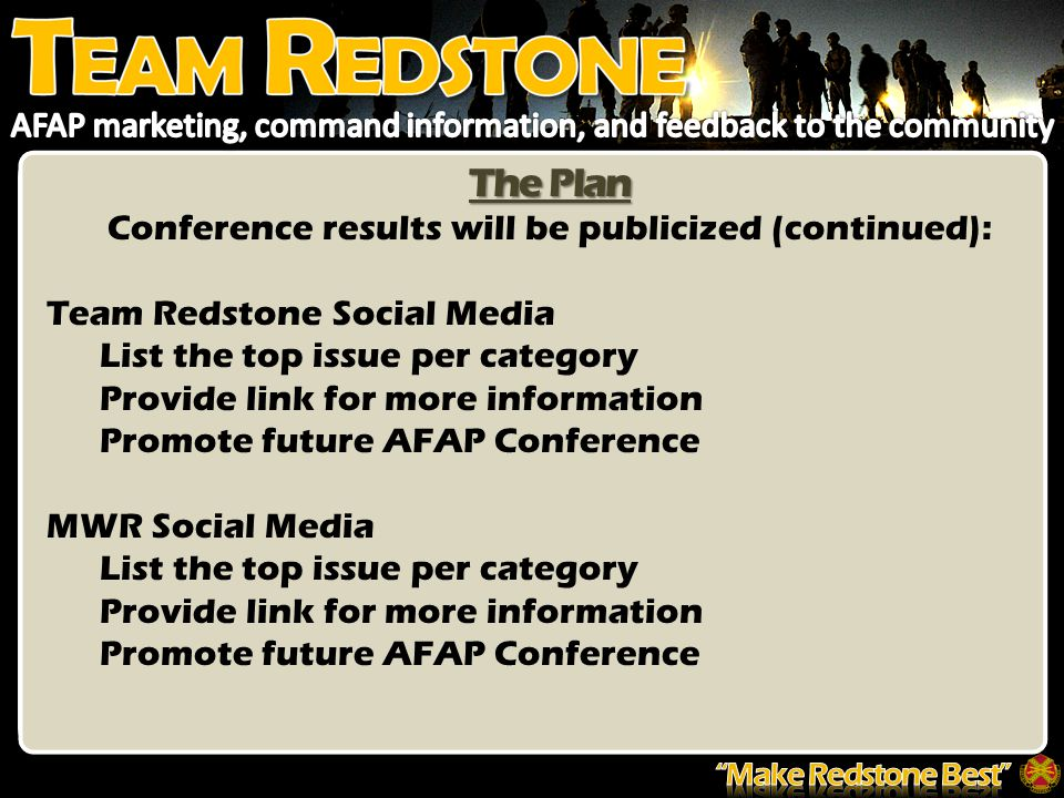 The Plan Conference results will be publicized (continued): Team Redstone Social Media List the top issue per category Provide link for more information Promote future AFAP Conference MWR Social Media List the top issue per category Provide link for more information Promote future AFAP Conference