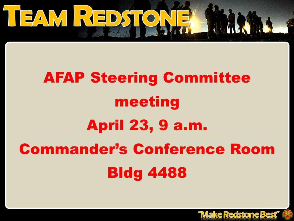 AFAP Steering Committee meeting April 23, 9 a.m.