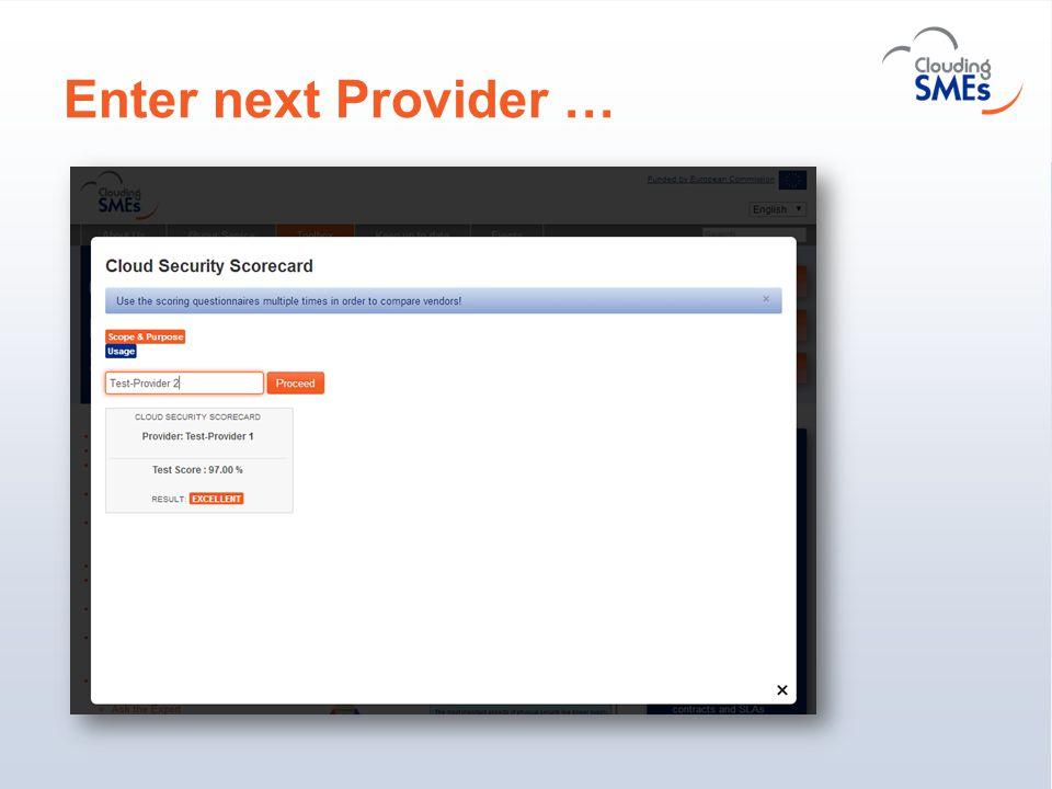 Enter next Provider …