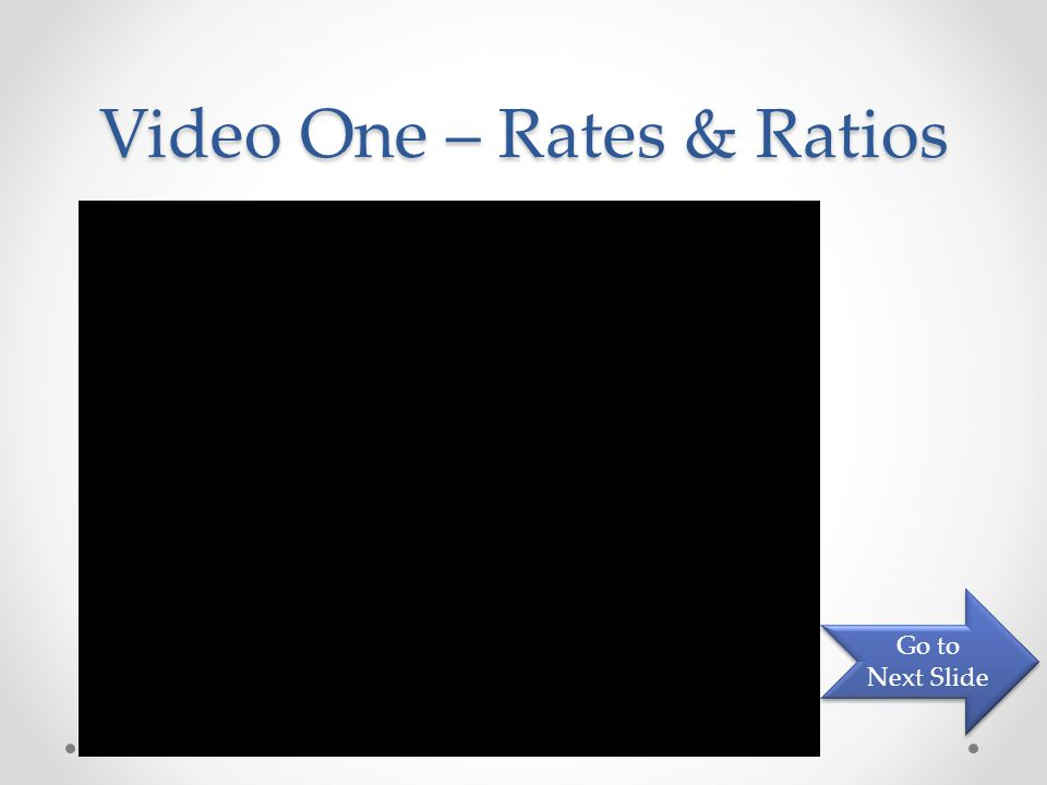 Video One – Rates & Ratios Go to Next Slide Go to Next Slide