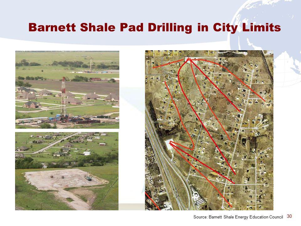 30 Barnett Shale Pad Drilling in City Limits Source: Barnett Shale Energy Education Council