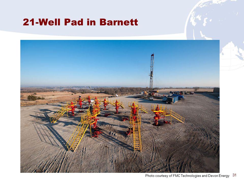 31 21-Well Pad in Barnett Photo courtesy of FMC Technologies and Devon Energy