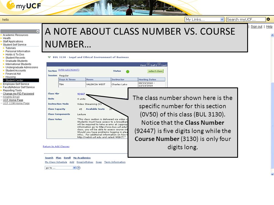 The class number shown here is the specific number for this section (0V50) of this class (BUL 3130).