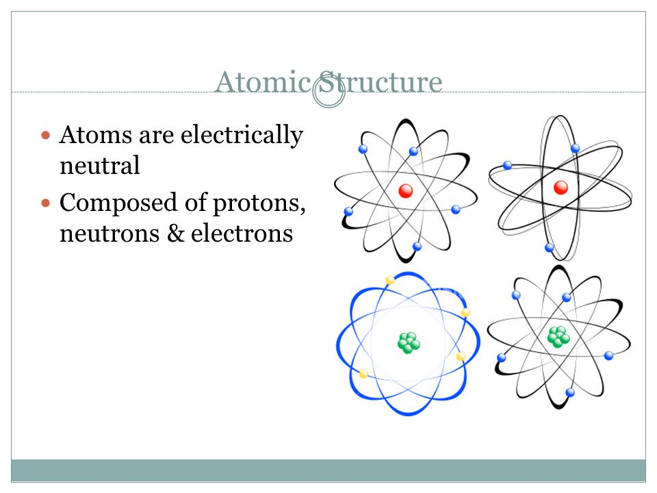 Atomic Structure Atoms are electrically neutral Composed of protons, neutrons & electrons