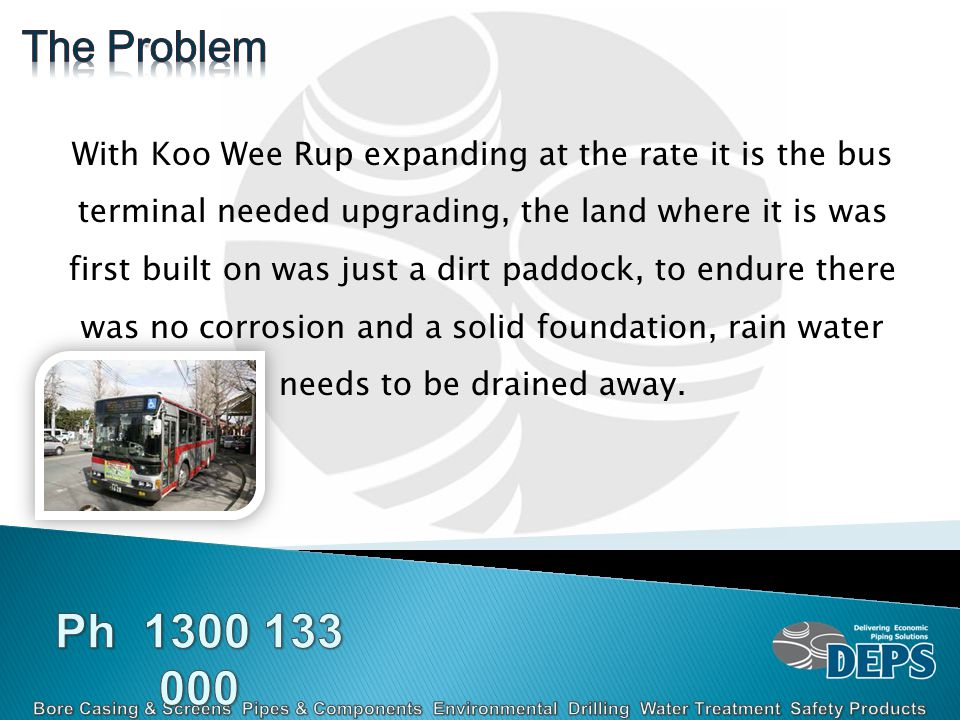 With Koo Wee Rup expanding at the rate it is the bus terminal needed upgrading, the land where it is was first built on was just a dirt paddock, to endure there was no corrosion and a solid foundation, rain water needs to be drained away.