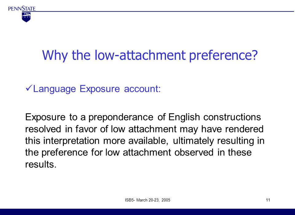 ISB5- March 20-23, 200511 Why the low-attachment preference.