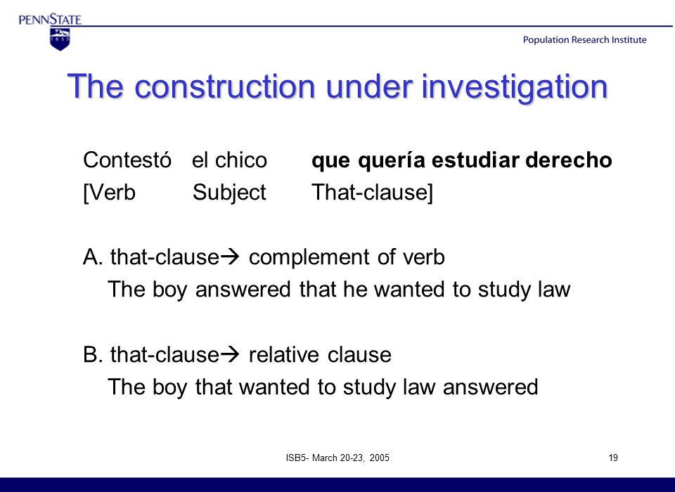 ISB5- March 20-23, 200519 The construction under investigation Contestó el chico que quería estudiar derecho [Verb Subject That-clause] A.