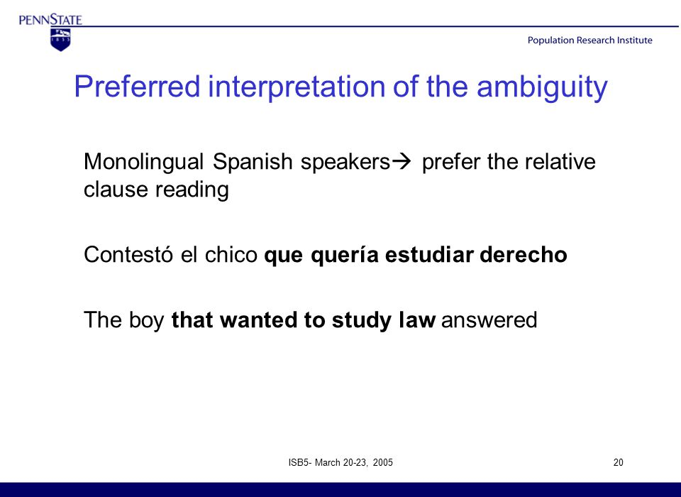 ISB5- March 20-23, 200520 Preferred interpretation of the ambiguity Monolingual Spanish speakers  prefer the relative clause reading Contestó el chico que quería estudiar derecho The boy that wanted to study law answered
