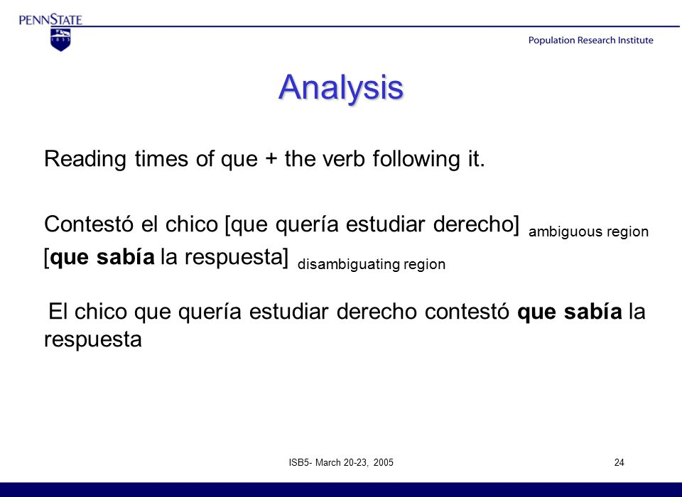 ISB5- March 20-23, 200524 Analysis Reading times of que + the verb following it.