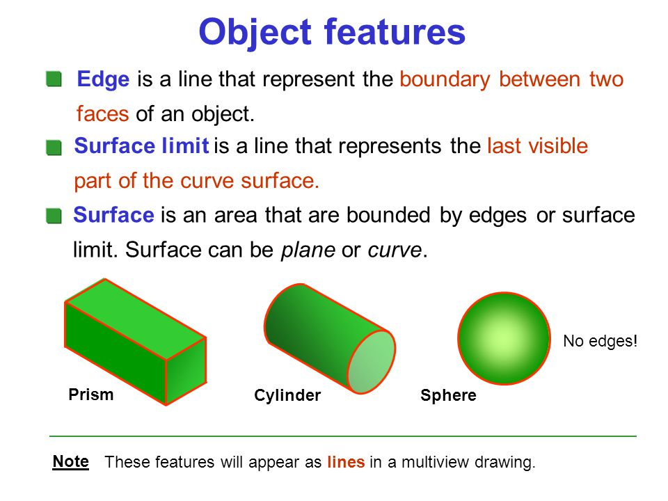 Object features Edge is a line that represent the boundary between two faces of an object.