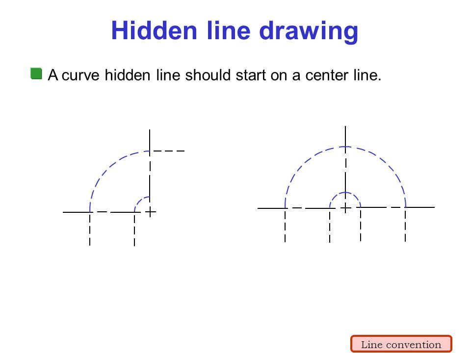 A curve hidden line should start on a center line. Hidden line drawing Line convention